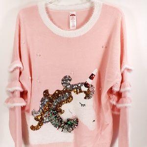 Holiday Time Ugly Christmas Unicorn Pink Sweater